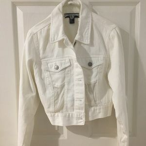 White crop denim jacket